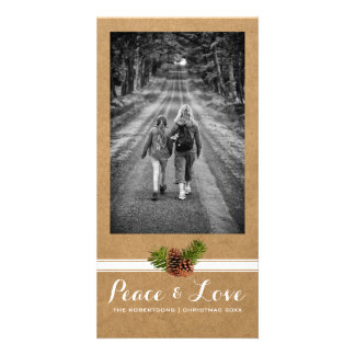 Peace Love Christmas Full Photo Paper Pinecones Card