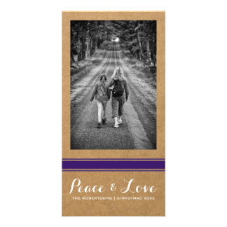 Peace Love Christmas Full Photo Paper Purple Belt Photo Card