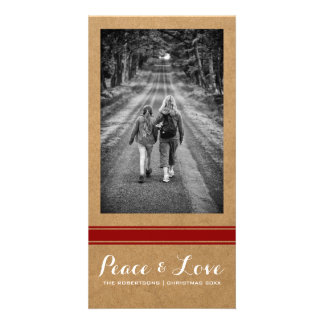 Peace Love Christmas Full Photo Paper Red Belt Photo Card