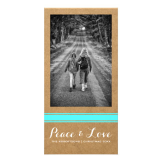 Peace Love Christmas Full Photo Paper Teal Belt Card