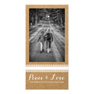 Peace Love Christmas Full Photo Paper White Lace Card