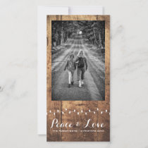 Peace Love Christmas Full Photo Wood Lights Holiday Card
