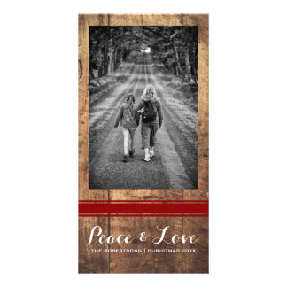 Peace Love Christmas Full Photo Wood Red Belt Photo Card