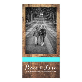 Peace Love Christmas Full Photo Wood Teal Belt Photo Card
