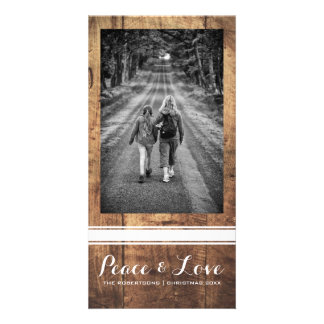Peace Love Christmas Full Photo Wood White Belt Card