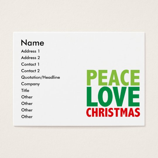 Peace Love Christmas Holiday Design Business Card