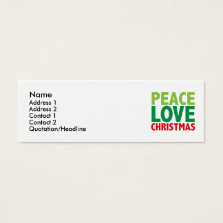 Peace Love Christmas Holiday Design Mini Business Card