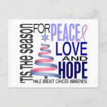 Peace Love Christmas Holiday Male Breast Cancer