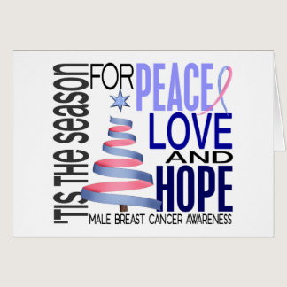 Peace Love Christmas Holiday Male Breast Cancer Card
