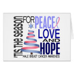 Peace Love Christmas Holiday Male Breast Cancer Greeting Card
