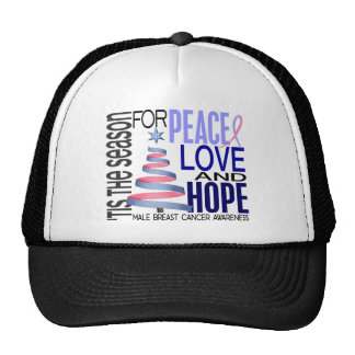 Peace Love Christmas Holiday Male Breast Cancer Hats