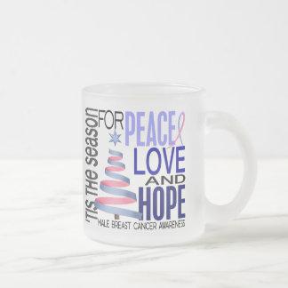 Peace Love Christmas Holiday Male Breast Cancer Coffee Mugs