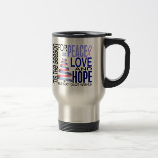 Peace Love Christmas Holiday Male Breast Cancer Mugs