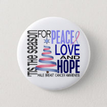Peace Love Christmas Holiday Male Breast Cancer Pinback Button