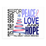 Peace Love Christmas Holiday Male Breast Cancer Post Card