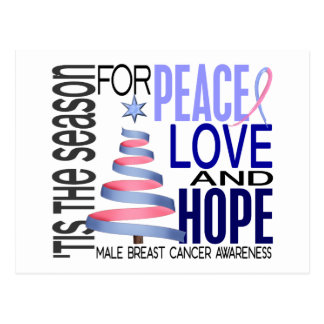 Peace Love Christmas Holiday Male Breast Cancer Postcard