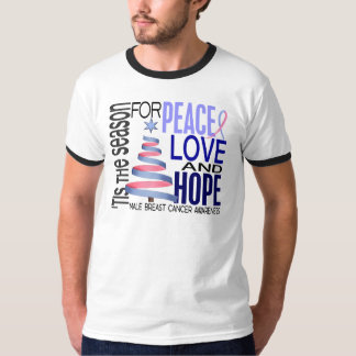 Peace Love Christmas Holiday Male Breast Cancer T-shirts
