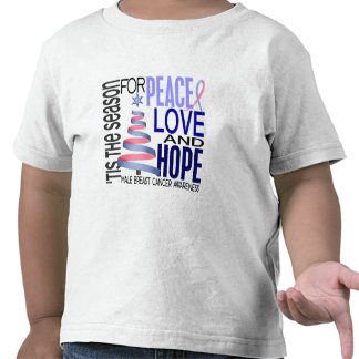 Peace Love Christmas Holiday Male Breast Cancer Tee Shirt