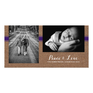 Peace & Love - Christmas Photo Burlap Purple Belt Card