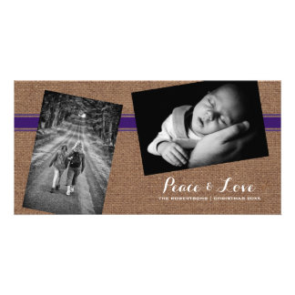 Peace Love Christmas Photo Burlap Purple Belt Card