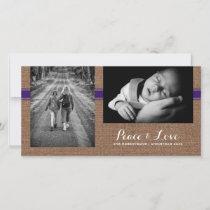 Peace & Love - Christmas Photo Burlap Purple Belt Holiday Card