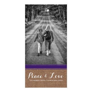 Peace & Love Christmas Photo Burlap Purple Belt v3 Card