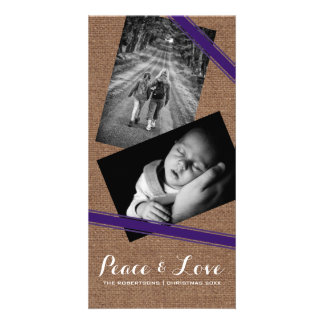 Peace & Love Christmas Photo Burlap Purple Belts Card
