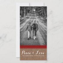 Peace & Love Christmas Photo Burlap Red Belt v3 Holiday Card
