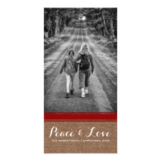 Peace & Love Christmas Photo Burlap Red Belt v3 Photo Card