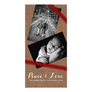 Peace & Love Christmas Photo Burlap Red Belts Photo Card