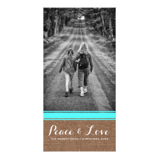 Peace & Love -Christmas Photo Burlap Teal Belt v3 Card