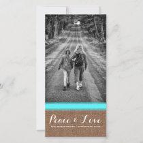 Peace & Love -Christmas Photo Burlap Teal Belt v3 Holiday Card