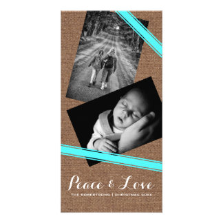 Peace & Love Christmas Photo Burlap Teal Belts Photo Card