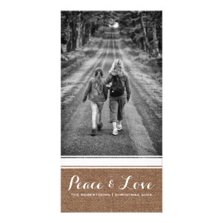 Peace & Love -Christmas Photo Burlap White Belt v3 Card