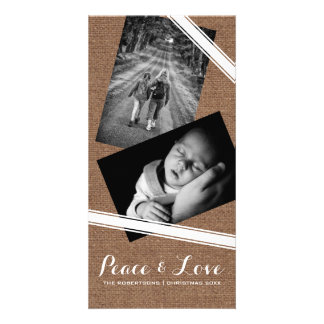 Peace & Love Christmas Photo Burlap White Belts Card
