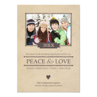 Peace & Love Christmas Photo Flat Card Custom Invite