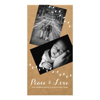 Peace & Love Christmas Photo Paper Lights Card