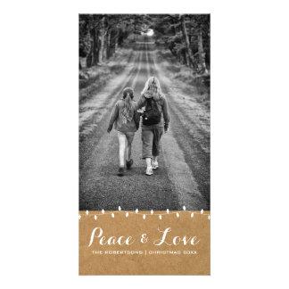 Peace & Love - Christmas Photo Paper Lights Card