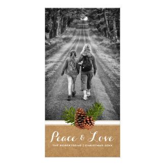 Peace & Love - Christmas Photo Paper Pinecones Card