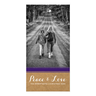 Peace & Love -Christmas Photo Paper Purple Belt v3 Card