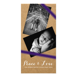 Peace & Love Christmas Photo Paper Purple Belts Card