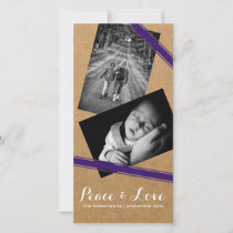 Peace & Love Christmas Photo Paper Purple Belts Holiday Card