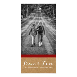 Peace & Love -Christmas Photo Paper Red Belt v3 Card