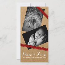Peace & Love Christmas Photo Paper Red Belts Holiday Card