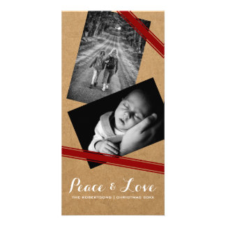 Peace & Love Christmas Photo Paper Red Belts Photo Card