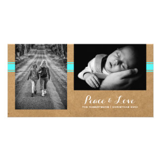 Peace & Love - Christmas Photo Paper Teal Belt Card