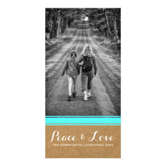 Peace & Love - Christmas Photo Paper Teal Belt v3 Photo Card