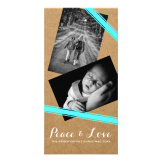 Peace & Love Christmas Photo Paper Teal Belts Card