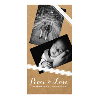 Peace & Love Christmas Photo Paper White Belts Card