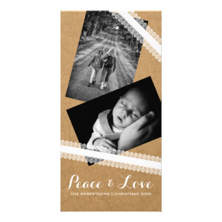 Peace & Love Christmas Photo Paper White Lace Card